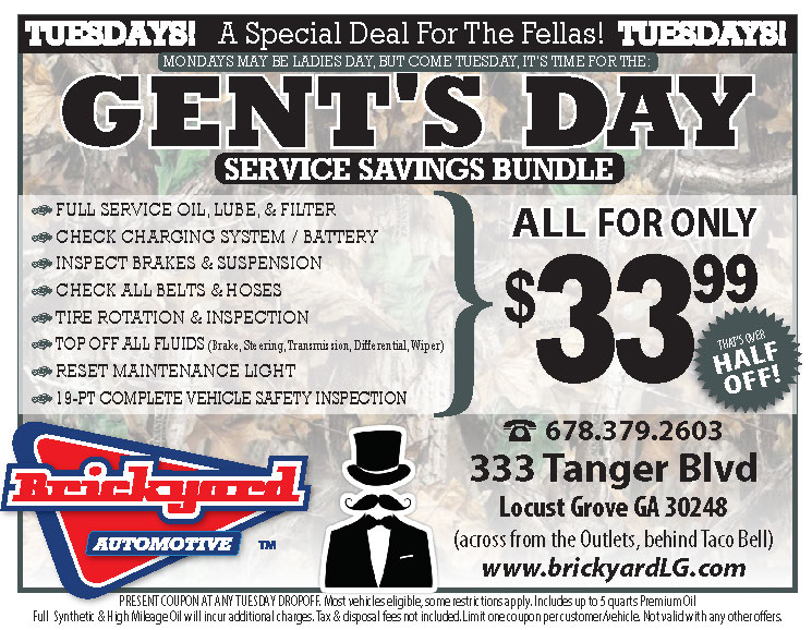 Tuesday Gents Day half price oil change special oil change
