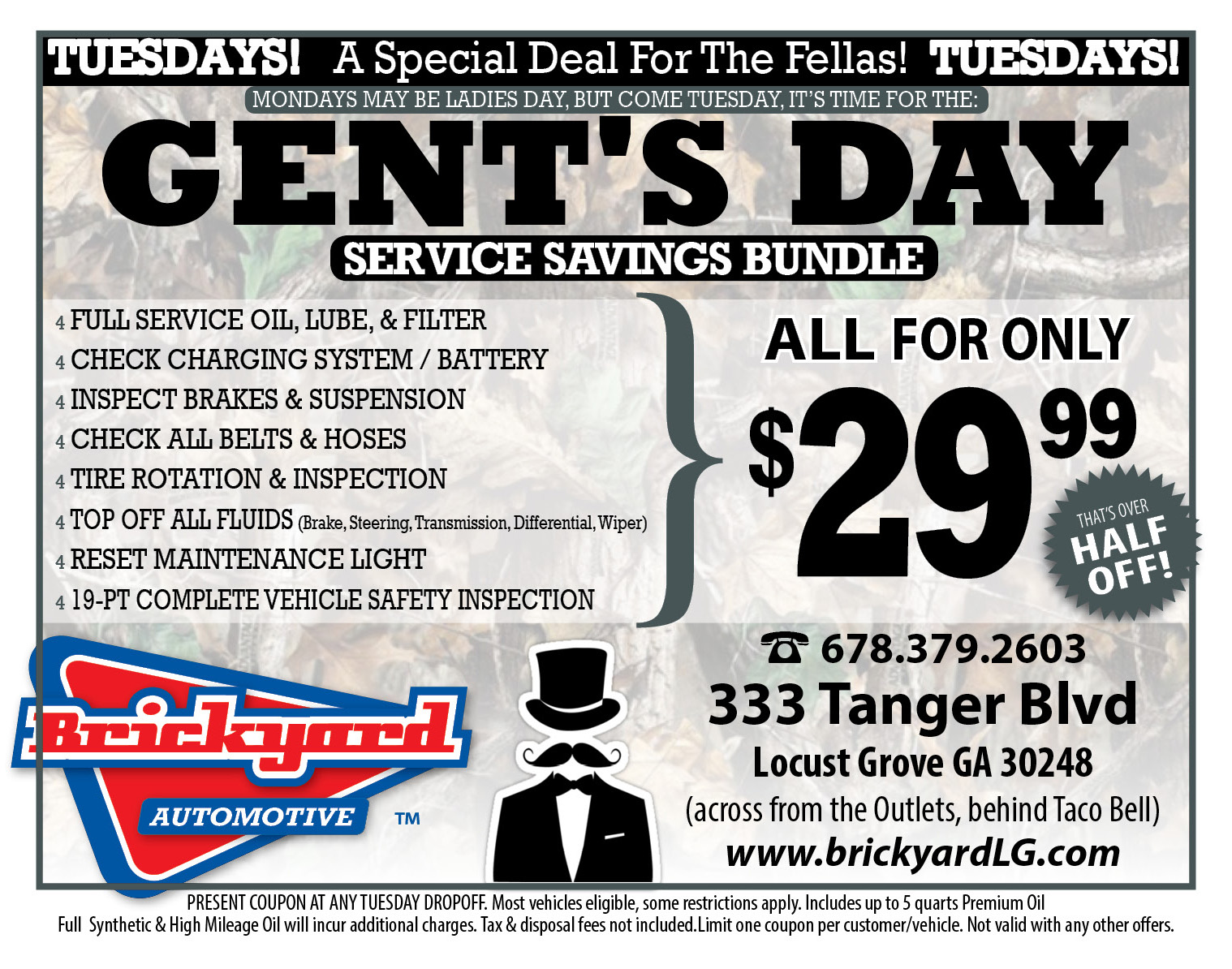Gents Day Special - Half price oil change on Tuesdays